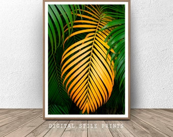 Tropical Palm Leaves Print, Tropical Plant, Palm print, Large wall art, Modern Art, Leaves Print, Printable Art, Tropical Leaf, Palm Art