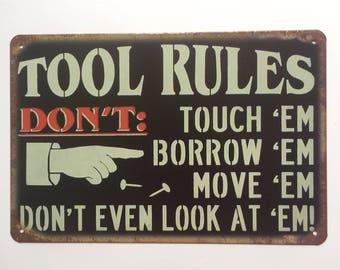 Tool Rules Sign Metal Poster