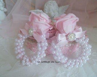 Duo round serviettesn shabby silk and pearls empreinr romance