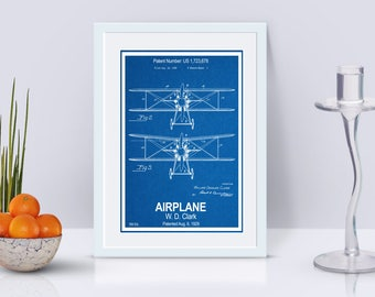 Biplane Patent Print / Airplane Poster / Aviation Art / Propeller Airplane / Pilot Gift / Patent Poster / Instant Download