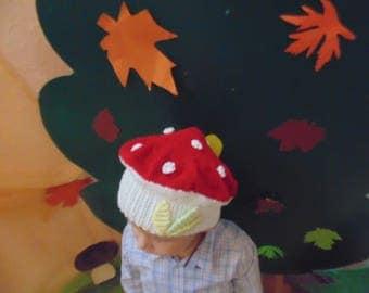 Knitted cap mushroom-fly agaric, mushroom cap, fly agaric, winter hat