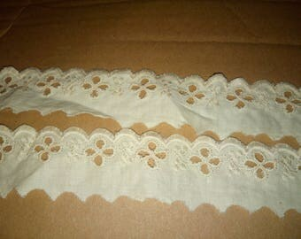 2 m of lace 100% cotton beige/ecru 3.5 cm collar