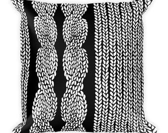 Side Cable Black Square Pillow