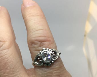 Solid .925 Sterling Silver Heart Scroll Work with Clear Stone Ring Size 4. Gift for Her!