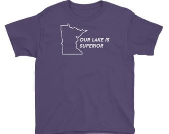 Duluth Our Lake is Superior Funny MN Gift Tee Kids/Youth Short Sleeve T-Shirt
