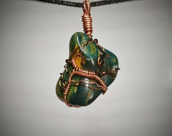 Green Jasper Pendant - Wire Wrapped Jewelry - Green with Yellow Veins and Swirls - Custom Wire Wrapped Stone Necklace - Handmade Jewelry