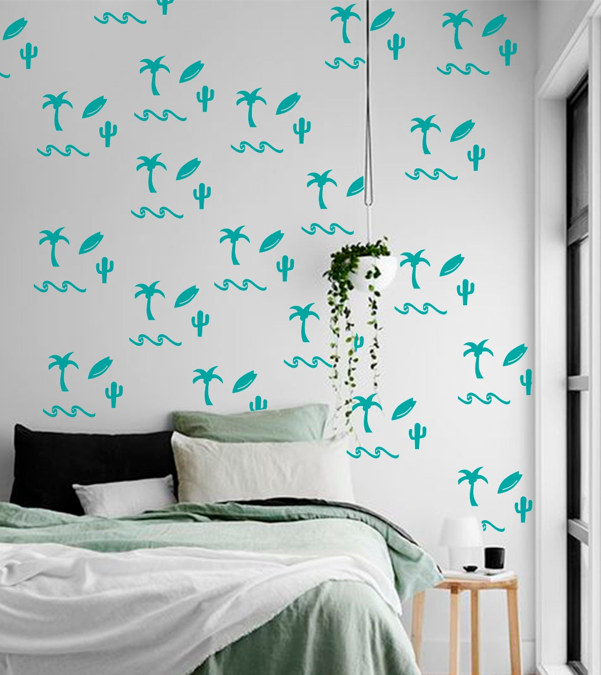 Beach Wall Decals Palm Tree Wall Decals Palm Vinyl Decals Sea