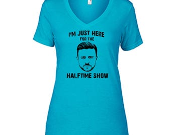 Justin Timberlake I'm Just Here For The Halftime Show T Shirt Ladies Semi-Fitted V-Neck Halftime Caribbean Blue Tee