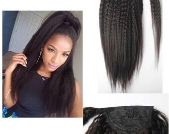 Human hair ponytail etsy brazilian kinky straight human hair ponytail extensions pmusecretfo Image collections
