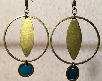 Earrings Pearl green resin epoxy