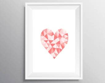 Pink Heart Wall art, Digital Wall Art, Pink White Print, Download Print, Instant download, Printable Art, Mozaik Wall Decor, Heart Poster