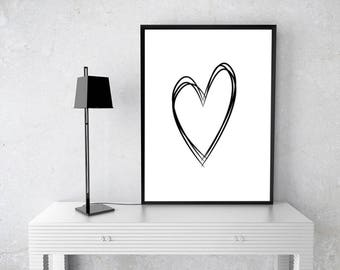 Black Heart Wall art, Digital Wall Art, Black White Print, Download Print, Instant download, Printable Art, Stripes Wall Decor, Heart Poster
