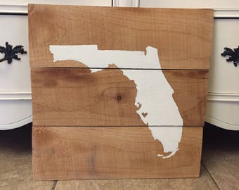 Florida state pallet wood sign 18in x 18in