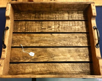 Rustic Wooden Serving Tray with Handles