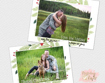 green wreath christmas holiday greeting card double sided digital photography template
