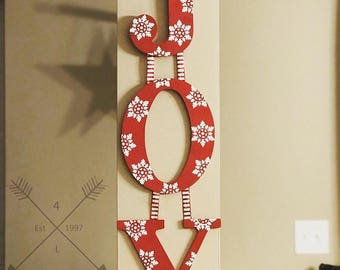Christmas Decor hanging letters, Joy, red and white snowflakes
