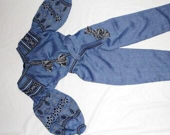 Boho Jumpsuit Bohemian Clothing Playsuit Pants Ukrainian Embroidery Custom Embroidery Vishivanka Vyshyvanka Woman Embroidered Boho Bohochic