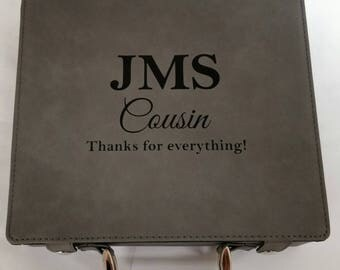Personalized Leather Poker Set, Engraved Groomsman Gift, Personalized, Bridesmaid Gift, Cards, Leather, Fishing, Gift for Him, fly box