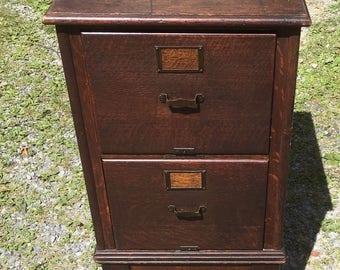 Victorian Oak 2 Drawer File Cabinet