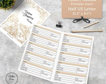 Tracker Printable, Half Size Planner Inserts, 5.5 x 8.5 Planner Printable, Half Letter Printable, Shopping Planner, Online Shopping Tracker
