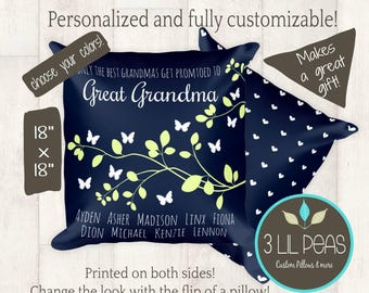 Mother's Day Gift for Grandma, Great Grandma Gift Idea, Personalized Grandmother Pillow, Gift for Great Grandma, Custom Grandparents Gift