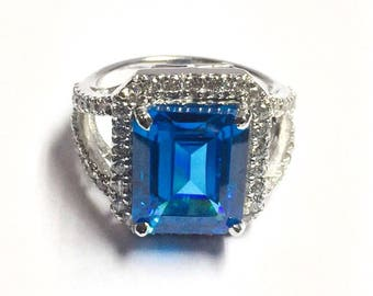 925 sterling silver blue emerald cut lab crested sapphire stone split shank halo engagement ring