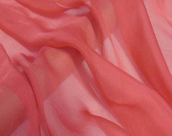 Super soft Pure Mulberry Silk Solid Dark Rose Red pure silk chiffon fabric material sheer # hac 4,