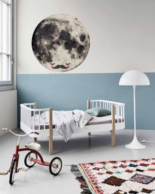 Sleepy Mr Moon Wall Sticker / Wall Decal Decor / Nursery Decor / Scandi Kids  Bedroom