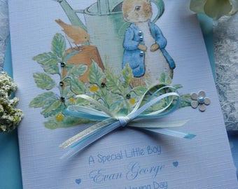 Personalised Handmade Peter Rabbit Christening / Baptism / Naming  Day Card