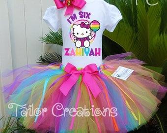 Hello Kitty rainbow balloons birthday tutu set, Hello Kitty parents birthday shirt, tutu, Hello Kitty birthday shirt, tutu dress