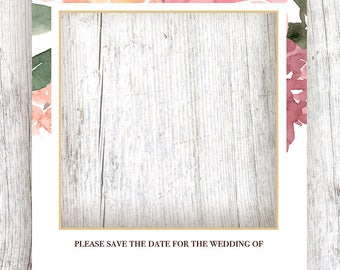 Upper Floral Border in Blush Save the Date with Gold Frame - Printable Template and Digital Download