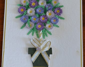 Topiary tree of daisies handmade quilled card