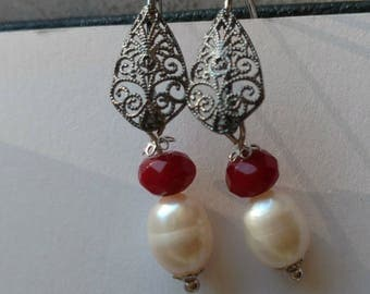 Filigree Silver earrings and freshwater pearls