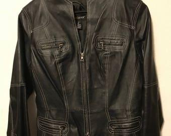 Women's black faux leather jacket with white stitching size medium