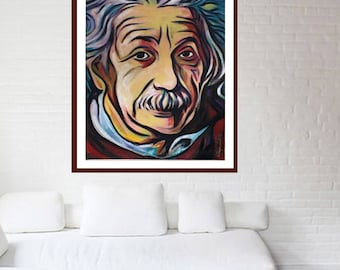 "Reyaz Nadi - Albert Einstein 2017 ""Linestien"" Acrylic on canvas 48""x32"" framed"