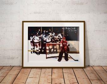 Miracle on Ice - Miracle - USA Hockey - Lake Placid 1980 - USA v USSR - Hockey art - Wall decor - Sports art - Man Cave