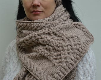 traditional aran warm cozy scarf cable knit scarf winter  merino wool  beige scarf with aran cream long handmade knitted scarf  warm gift