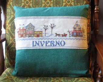"""Cushion cover is made by 1 stitch """"winter"""" Perfect as a Christmas present!"""