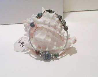 Blue & Brown Agate beaded bracelet