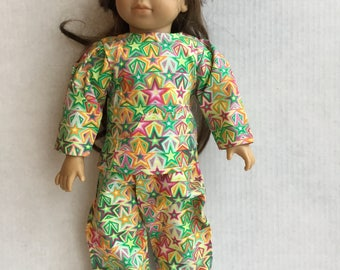 "Cotton 2 piece pajamas for 18"" doll such as American girl"