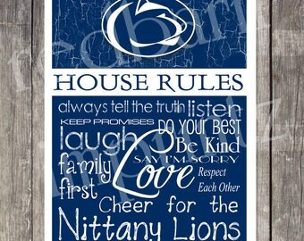 Penn State NITTANY LIONS House Rules Print