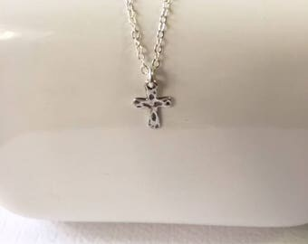 Sterling Silver necklace, Tiny Cross pendant,Confirmation gift,everyday necklace, simple necklace, sterling silver cross charm
