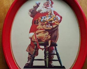Vintage 1987 COCA COLA  Christmas Santa 15 Inch Oval Metal Tray