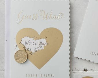 Mint Gold Guess What Scratch Cards, Scratch Greeting Cards, Baby Reveal Cards, Gender Reveal Cards, Engagement Reveal Cards, Reveal Cards,