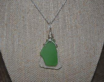 Genuine Green Sea Glass on Clear Sea Glass