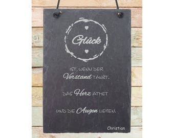"""Engraved plaque of slate """"Glück"""" engraving with wish name including leather strap"""