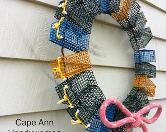 Mini Lobster Trap Wreath - handmade in Glouceter MA