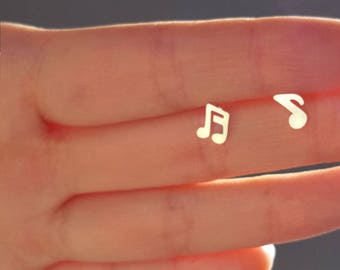 Lovely modern music note earring,music note stud earring, Bridesmaid gift, Wedding earring, Present ,Holiday gift