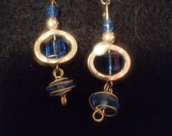 Blue wire wrapped glass