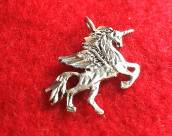 Unicorn with Wings Silver Charm
